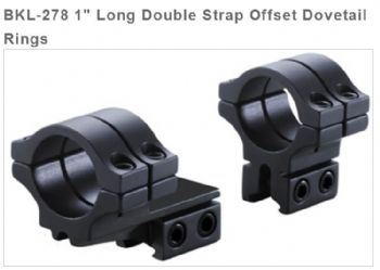 "BKL278 Double Strap 3/8""-11mm Dovetail OFFSET 1"" Mount Rings - High profile"